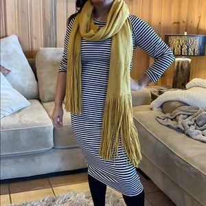 Long beautiful mustard-yellow scarf with fringes
